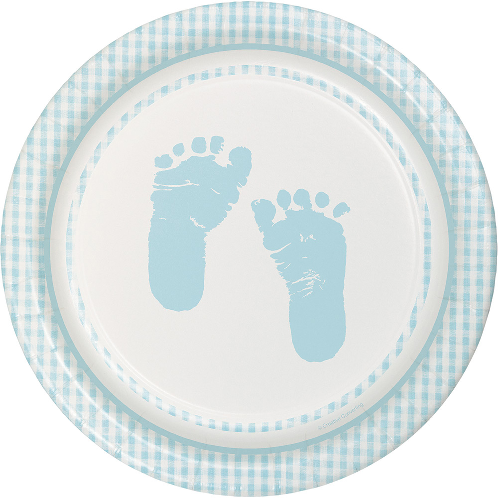 Sweet Baby Feet Blue Luncheon Plates  (8 Pack) - Party Supplies