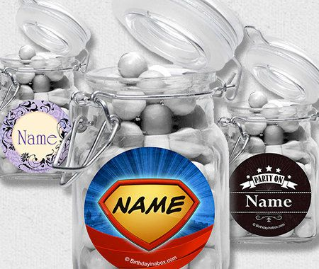 Candy Favor Containers, Party, Personalization, Apothecary Jars