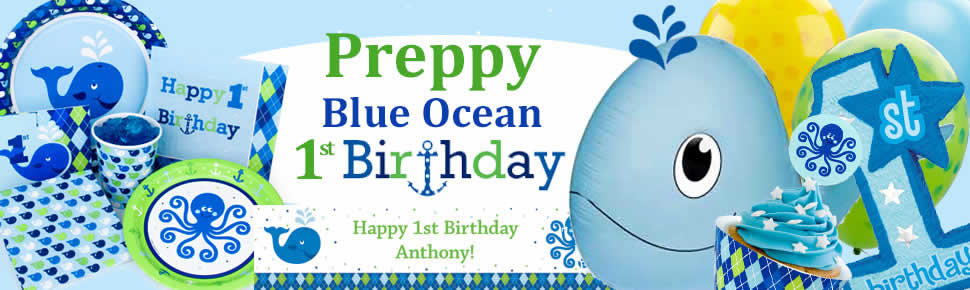 Preppy Boy Ocean 1st Birthday