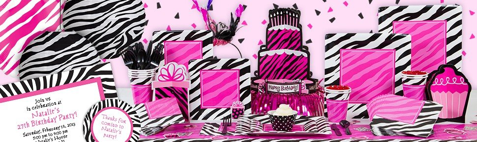 Zebra birthday party decorations ideas and supplies for Animal print party decoration ideas