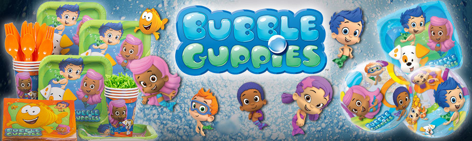 Bubble guppies birthday in a box party supplies decorations - Bubble guppies birthday banner template ...