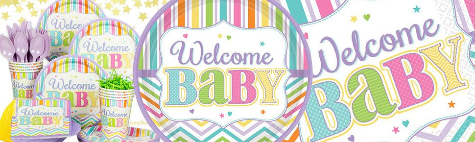 Welcome Baby Bright Chevron Stripe