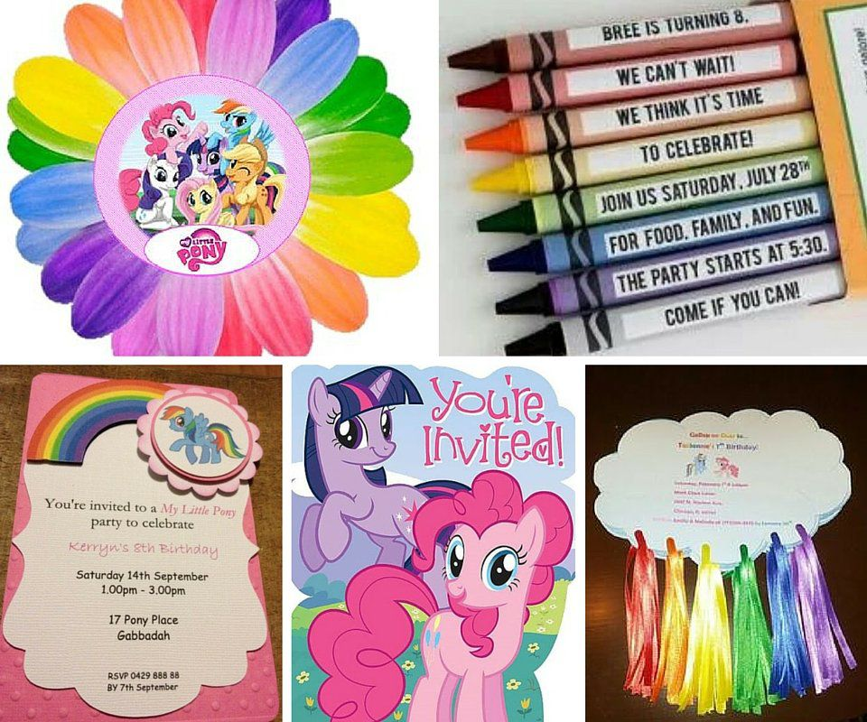 my little pony party ideas  pony party ideas at birthday in a box, Party invitations
