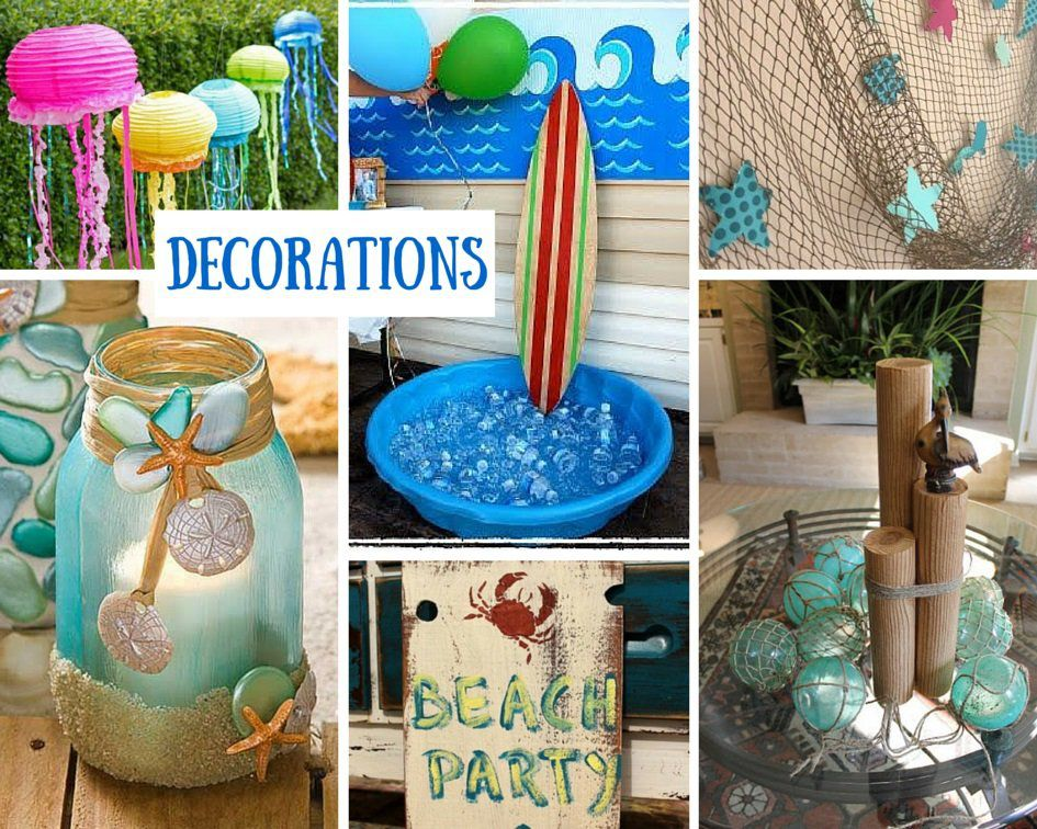 Decorations For A Beach Party Are Only Limited By The Imagination Birthday In Box Makes Decorating Parties Simple With Themed Tableware Centerpieces
