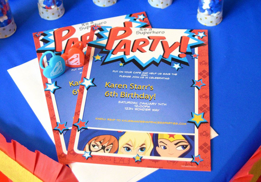 DC Superhero Girls Party Invitations