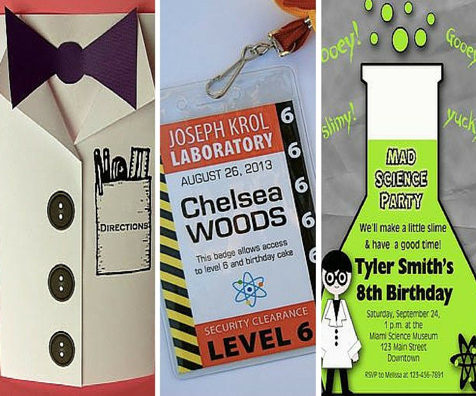 Science Birthday Party Ideas – Mad Scientist Birthday Party Invitations