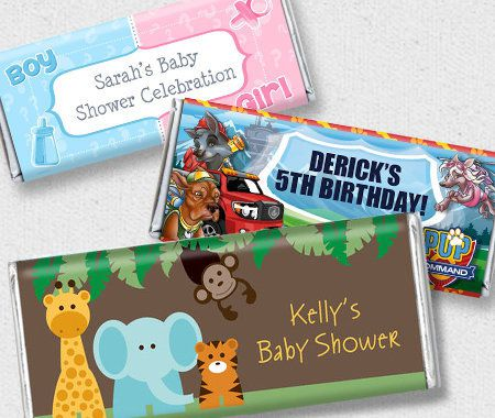 Candy Favor Containers, Party, Personalization, Candy Bar Wrappers