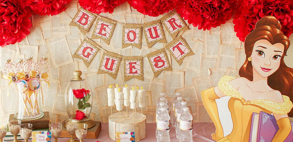 Princess belle party ideas disney party ideas at birthday in a box beauty and the beast party ideas filmwisefo