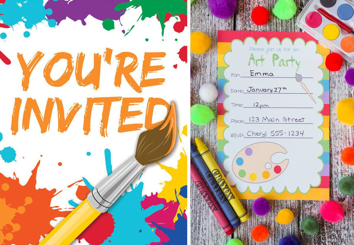 Arts and Crafts Party Invitations