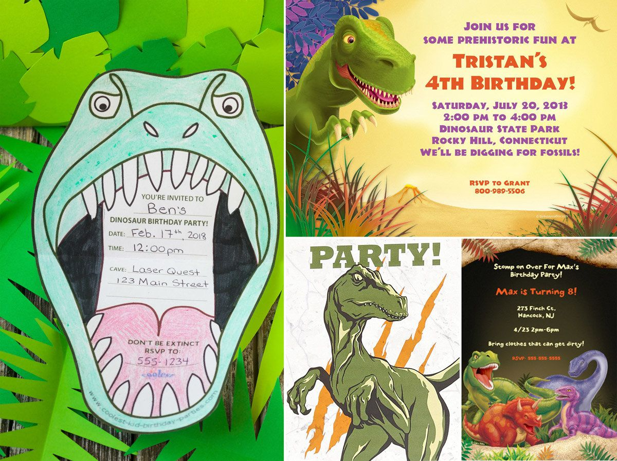 Dinosaur Birthday Party Ideas - Invitations