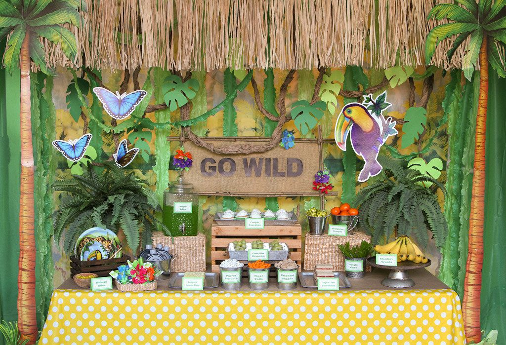 jungle party ideas animal party ideas at birthday in a box. Black Bedroom Furniture Sets. Home Design Ideas