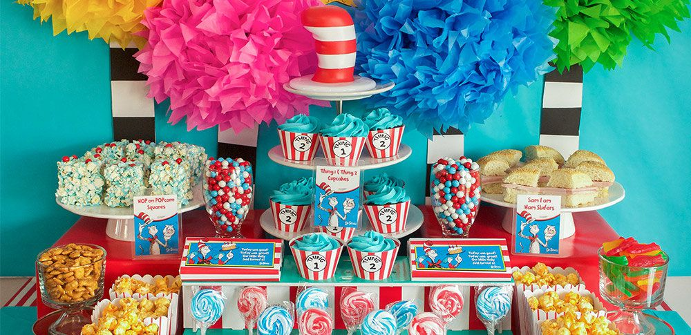Incredible Dr Seuss Party Ideas Kids Party Ideas At Birthday In A Box Funny Birthday Cards Online Aboleapandamsfinfo