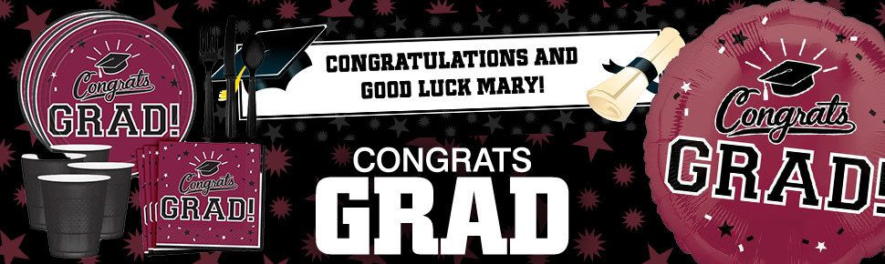 congrats grad in burgundy party decorations ideas and supplies