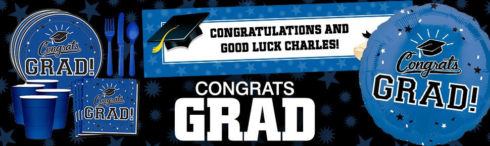 congrats grad in blue party supplies decorations and ideas