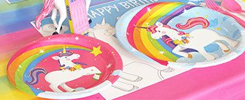 Unicorn and Rainbows Party Tableware
