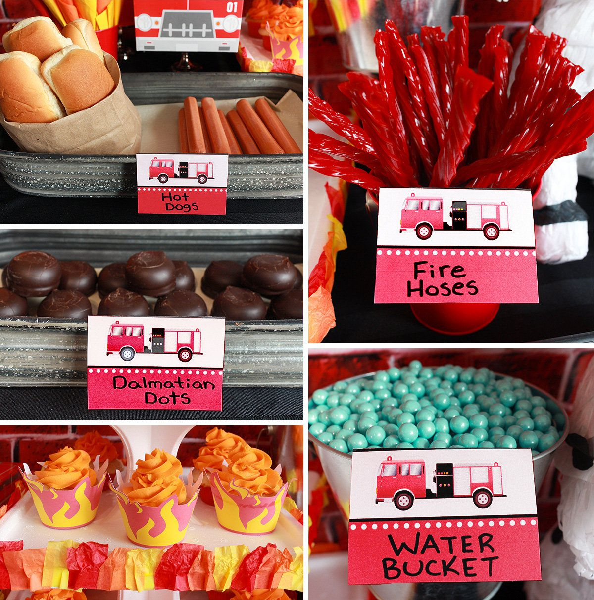 Fire Engine Party Food Ideas Firefighter Birthday