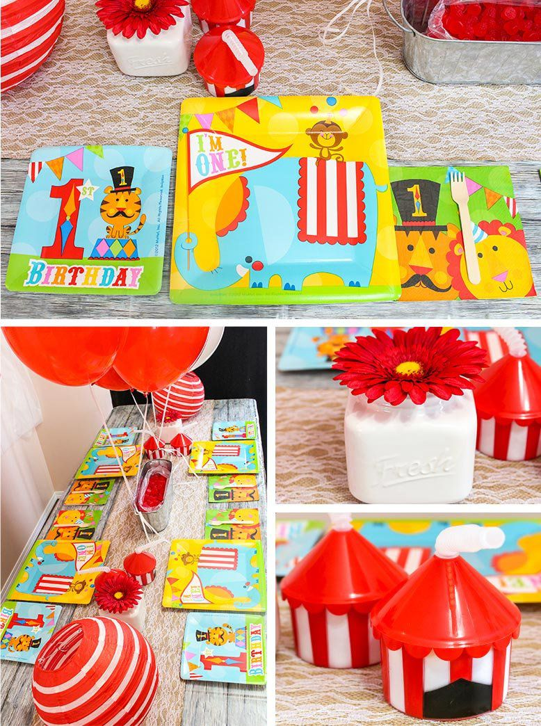 Circus 1st Birthday Party Tableware