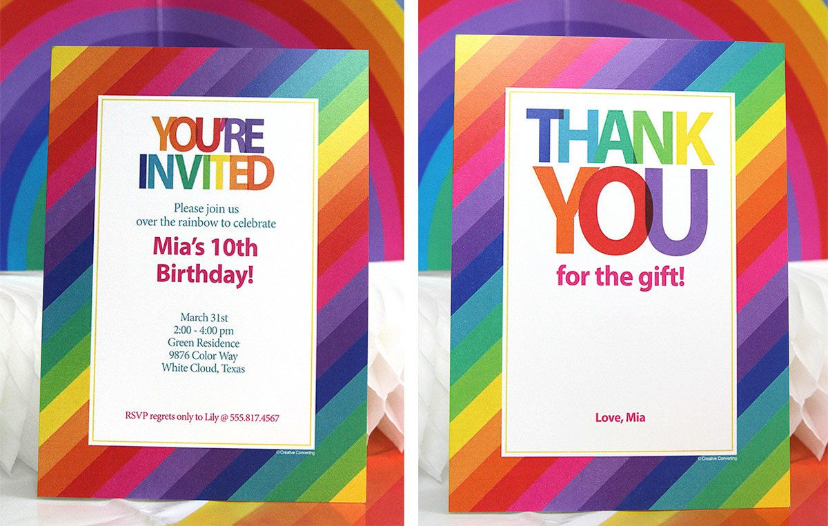 Rainbow Birthday Party Ideas - Invitations and Thank You Cards