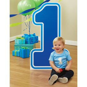 1 Blue Birthday Standup - 3' Tall