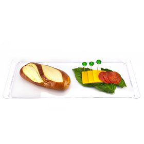 "15.5"" Clear Plastic Rectangular Serving Tray (Each)"