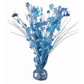 "15"" Light Blue Holographic Baby Shower Balloon Weight Centerpiece"