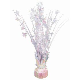 "15"" Iridescent White Snowflake Balloon Weight Centerpiece"