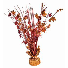 """15"""" Red & Orange Holographic Fall Harvest Leaves Balloon Weight Centerpiece"""