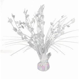 "15"" White Iridescent Umbrella Shower Balloon Weight Centerpiece"