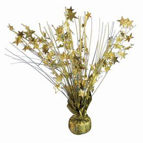 "15"" Gold Holographic Starburst Balloon Weight Centerpiece"