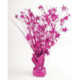 "15"" Hot Pink Holographic Starburst Balloon Weight Centerpiece"