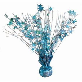 "15"" Light Blue Holographic Starburst Balloon Weight Centerpiece"