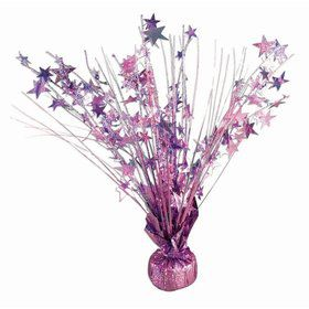 "15"" Light Pink Holographic Starburst Balloon Weight Centerpiece"