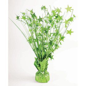 "15"" Lime Green Holographic Starburst Balloon Weight Centerpiece"