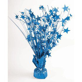 "15"" Peacock Blue Holographic Starburst Balloon Weight Centerpiece"