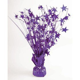 "15"" Purple Holographic Starburst Balloon Weight Centerpiece"