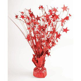"15"" Red Holographic Starburst Balloon Weight Centerpiece"