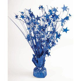 "15"" Royal Blue Holographic Starburst Balloon Weight Centerpiece"