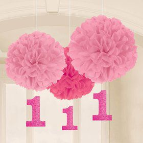 "1st Birthday 16"" Pink Fluffy Hanging Decorations (3 Pack)"