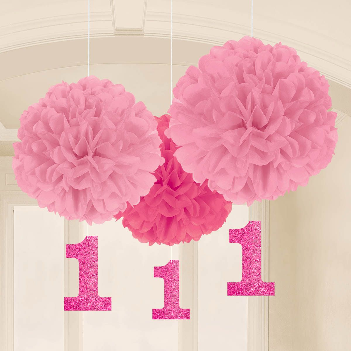 1st birthday pink fluffy hanging decorations 16 pack for 1st birthday decoration packs
