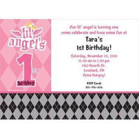 1st Birthday Angel Personalized Invitation (each)
