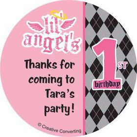 1st Birthday Angel Personalized Stickers (sheet of 12)