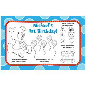 1st Birthday Bear Boy Personalized Activity Mat (8 pack)