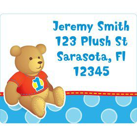 1st Birthday Bear Boy Personalized Address Labels (sheet of 15)