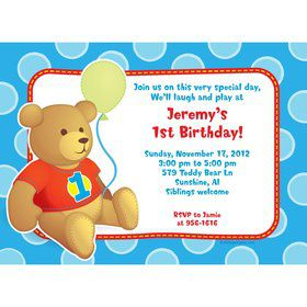 1st Birthday Bear Boy Personalized Invitation (each)