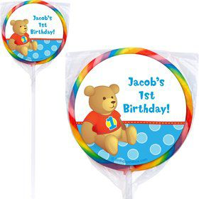 1st Birthday Bear Boy Personalized Lollipop (PACK of 12)