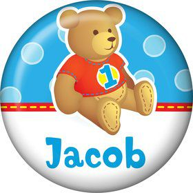 1st Birthday Bear Boy Personalized Mini Button (each)