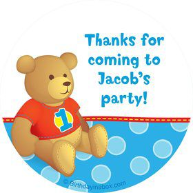 1st Birthday Bear Boy Personalized Sticker (sheet of 12)