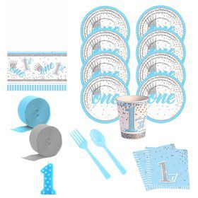 1st Birthday Blue Deluxe Tableware Kit (Serves 8)