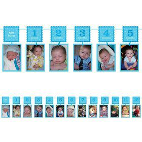 1st Birthday Blue Glitter Photo Garland Decoration (Each)