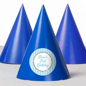 1st Birthday Blue Personalized Party Hats (8 Count)